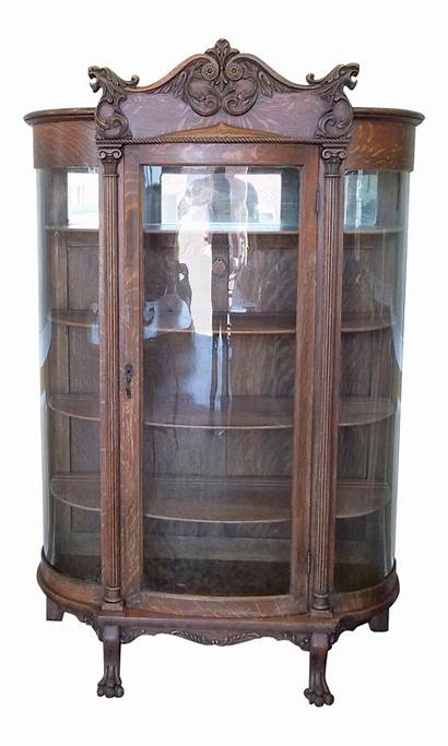 Curio Cabinet Glass Display Curved Antique Victorian