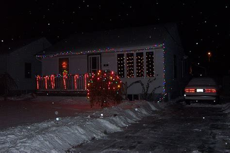 holiday lights front of the house from the driveway