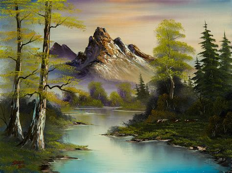 framed canvas prints for sale mountain evening painting by chris