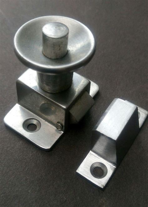 vintage press button cupboard latch catch aluminium