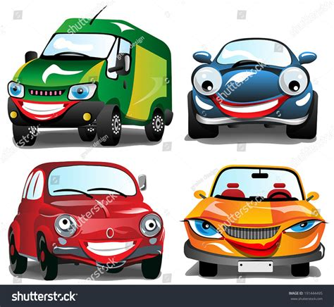 Smiling Car 4 Cartoons Smiling Cars Stock Vector 191444495