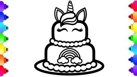 glitter unicorn cake coloring  drawing  kids unicorn cake coloring page youtube