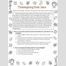 Main Idea And Best Title Worksheets Thanksgiving (test Prep) By Deb Hanson