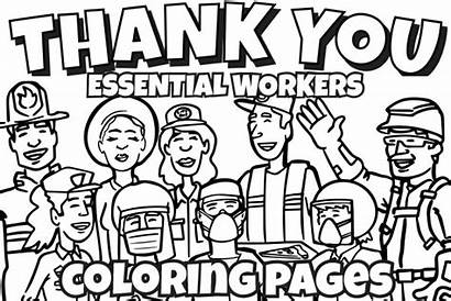 Coloring Thank Pages Workers Essential Printable Sheet
