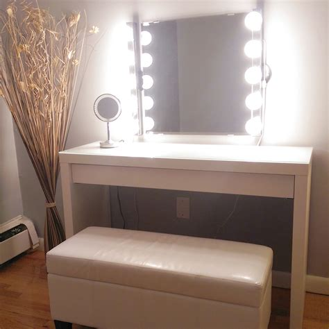 makeup vanity with lights ikea love the bench wall mirror is kolja mirror from ikea