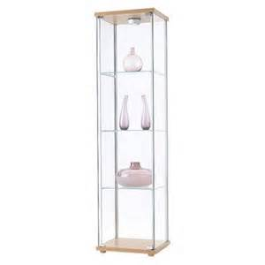 ikea detolf glass curio display cabinet light brown by