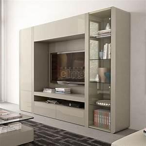 Meuble Tv Living : composition murale contemporaine meuble tv living laque orchid ~ Teatrodelosmanantiales.com Idées de Décoration
