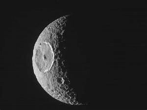 NASA - Mimas, Just Before Eclipse