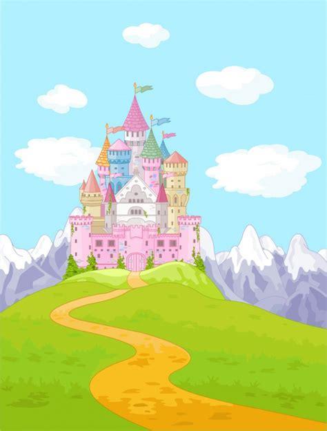 pink princess castle wall mural fairytale fantasy photo