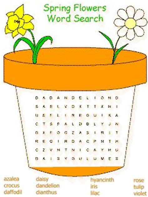 spring word search spring words school age activities
