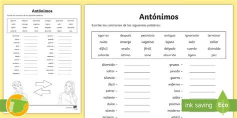 * New * Ficha De Actividad Escribe Los Antónimos  20 Palabras