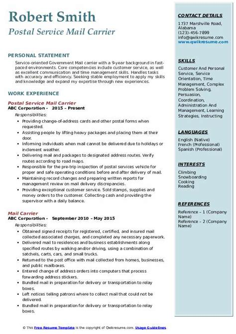 mail carrier resume samples qwikresume