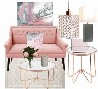Blush Living Rose Mood Board Gray Sofa