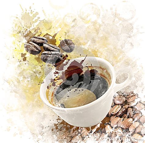 Moonlight tree painting with coffee tutorial step by step. Watercolor Image Of Morning Coffee Stock Illustration - Image: 44430427