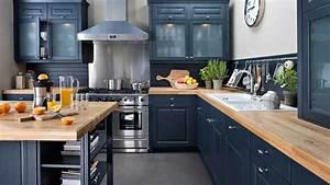 Cuisine Plan De Travail Bois : cuisine noir laque plan de travail bois ~ Dailycaller-alerts.com Idées de Décoration