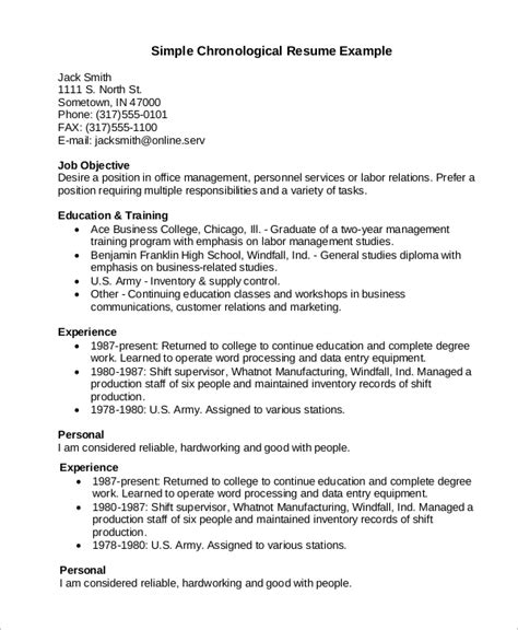Chronological Resume by Sle Chronological Resume 9 Exles In Word Pdf