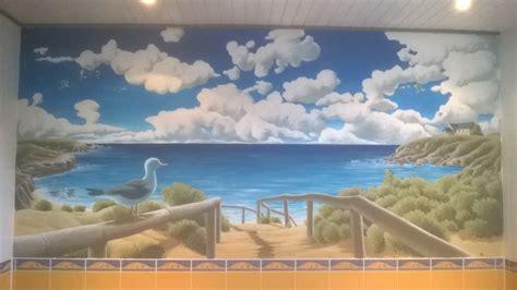 fresque murale salle de bain trompe l oeil salle de bain sylvano arts graphiques