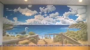 trompe l39oeil salle de bain sylvano arts graphiques With fresque murale salle de bain