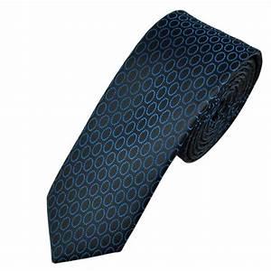 Black & Blue Circle Patterned Men's Skinny Tie from Ties ...
