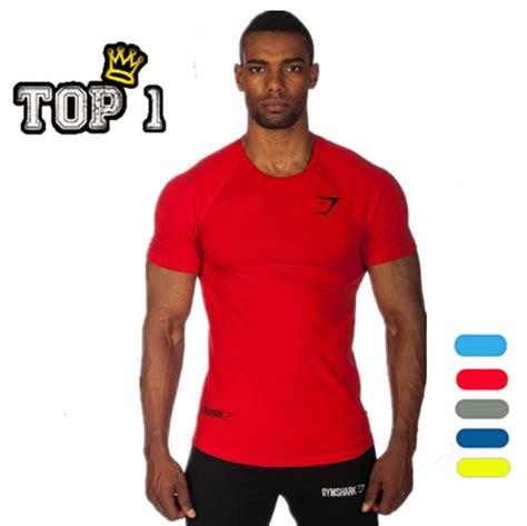 2015 fashion mens t shirts gymshark fit t shirt cotton compression shirt fitness