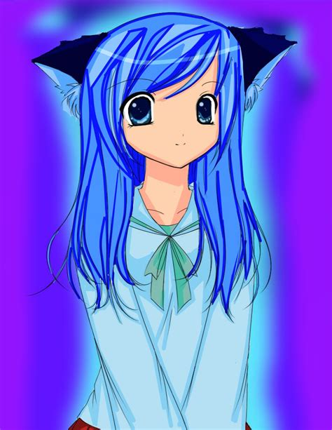 cat girl colored  angelkitty  deviantart