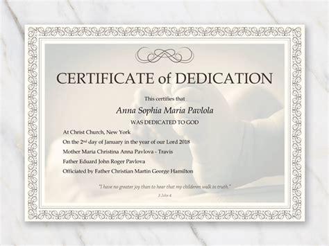 baby dedication certificate template  word  printable