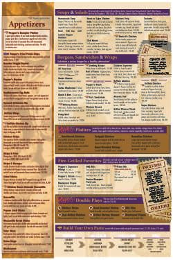 Give the gift of live. Menus - Peppers Sports Pub