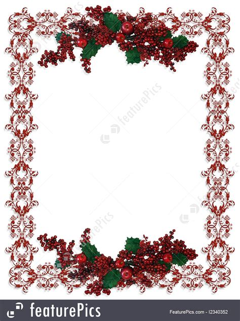 templates christmas border holly berries stock