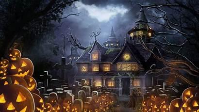 Halloween Pumpkin Anime Fantasy Cemetery Graveyard Houses