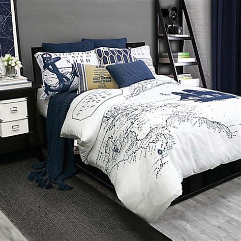 bedroom navy shelburne duvet cover set in navy white bed bath beyond Coastal
