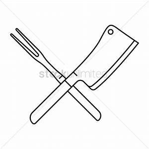 Crossed steak fork and butcher knife Vector Image ...