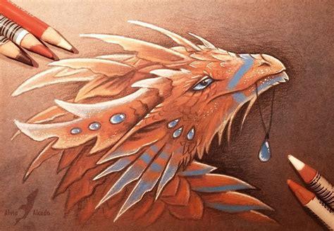 beautiful dragon artwork drawn   colored pencils