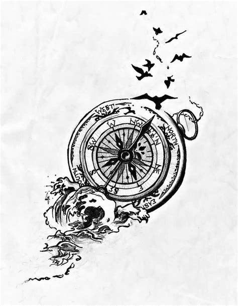 Flying Birds Compass Tattoo Design Sample | My Style | Tattoos, Compass tattoo design, Basic tattoos