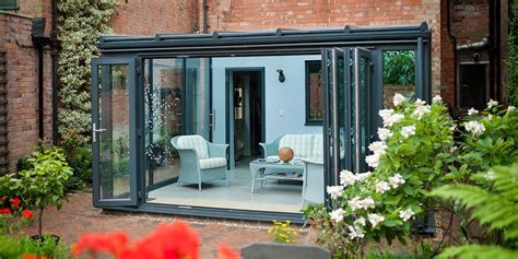 modern lean  upvc conservatory  bi folding doors