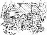 Cabin Coloring Log Pages Woods Drawing Wood Burning Adult Printable Summer Patterns Cottage Stamps Cabins Drawings Stampin Sketch Rubber Scenes sketch template