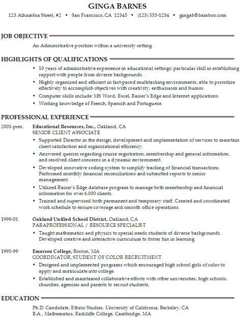 Position Applying For On Resume by Sle Resume For Someone Seeking An Administrative