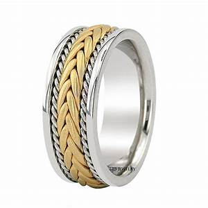 18k two tone gold mens braided wedding bands rings satin With mens braided wedding ring