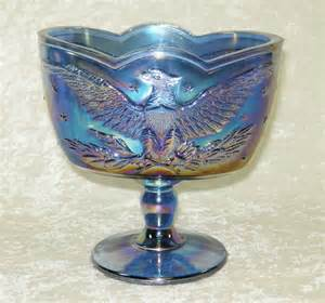 vintage l e smith blue amethyst carnival glass eagle stars