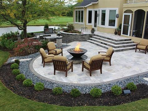 photos of patios stairs firepit paver patio with travertine back yards patio retaining walls pinterest