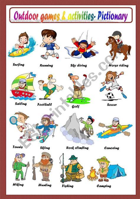 outdoor games  activities pictionary esl worksheet