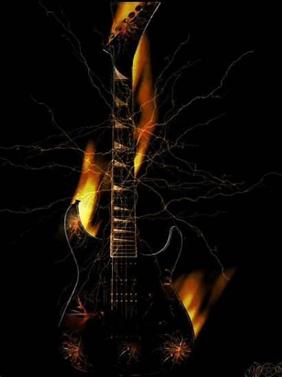 Guitar Cool Fire Rock Google Gitar Keren