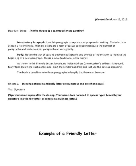 friendly letter format  sample  format