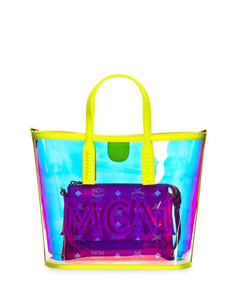 mcm luccent medium   neon tote bag neiman marcus