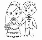 Bride Groom Coloring Line Romantic Drawing Wife Colouring Coloringpagesfortoddlers Drawings sketch template