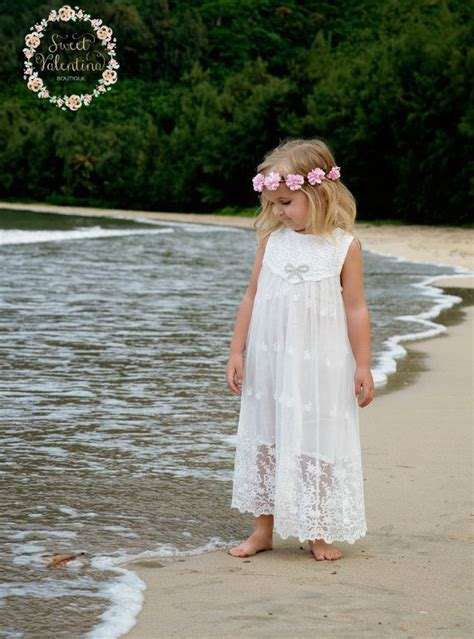 white flower girl dress girls lace dress rustic flower