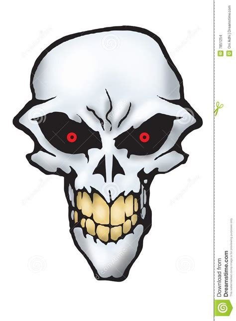 scary skull  red eyes stock images image