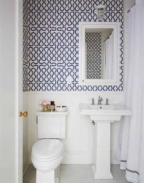 white shower curtain  navy trim design ideas