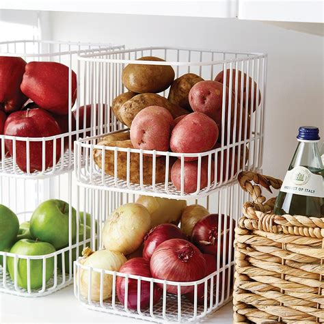 kitchen storage basket scala steel wire stackable basket the container 3118