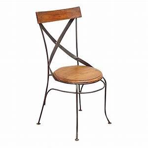 Chaise Fer Forgé Et Bois : chaise bistrot en fer forg et palissandre meuble r tro ~ Dailycaller-alerts.com Idées de Décoration