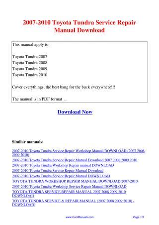 how to download repair manuals 2004 toyota tundra 2007 2010 toyota tundra service repair manual pdf by linda pong issuu